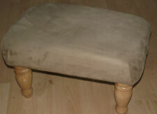 Superb light brown faux suede footstool with best quaity light wood turned legs