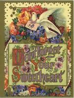 VINTAGE VICTORIAN DESIGN DOVE ROSES PANSY GARDEN FLOWERS SWEETHEART CARD PRINT