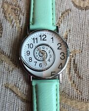Faux Leather Mint Green Strap Ladies Spiral Design Watch Birthday Xmas Cute Gift