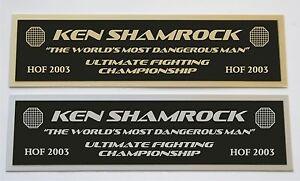 Ken Shamrock UFC nameplate for signed mma gloves photo case
