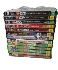 Lego DVD Bulk Bundle X 13 Ninjago Star Wars DC Super Heroes