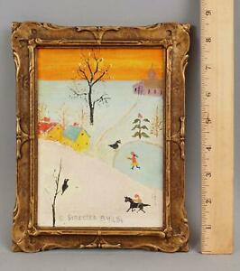 STREETER BLAIR American Primitive Naive Folk Art Winter Ice Skating Oil Painting