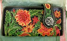 Bifold Leather Wallet, Floral WesternStyle, Hand Tooled, Wallet Snap