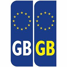 Pair of GB Euro car Number Plate Vinyl Stickers for driving abroad in Europe