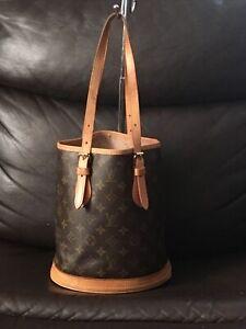 Authentic Louis Vuitton Brown Monogram LV PM Bucket Shoulder Hand Bag /VI1927