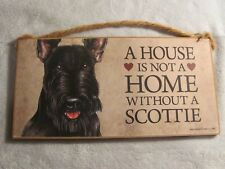 "A House is not a Home Scottie 5""x10"" Wood Plaque Dog Sign Home Decor"