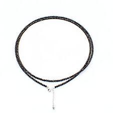 ZEEme Silver Halskette Collier 925 Sterling Silber 80cm Kristalle schwarz NEU