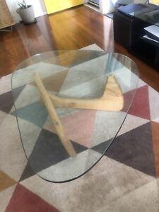 Oak coffee table, glass top.
