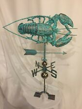 LARGE Handcrafted 3D 3-Dimensional LOBSTER Weathervane Copper Patina Finish