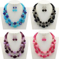 New Creative Women Double Layer Water Drop Pendant Necklace Earrings Set Jewelry