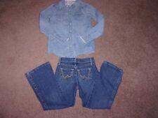 Girl Wrangler Brand Denim Jeans Stretch Boot Cut & Shirt Youth SiZe 6X Reg VGC!!