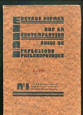 OCTAVE PIRMEZ SUR LA CONTEMPLATION  REFLEXIONS PHILOSOPHIQUES ISAD  Coll Belges
