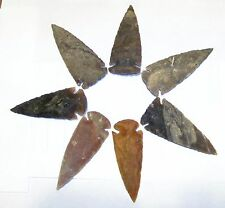 "5 KNAPPED 2 3/4"" to 3 1/2"" NEW AGATE ARROWHEADS FOR RESALE, CRAFTS, COLLECTING"