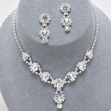 ELEGANT JEWELRY Bridal Wedding Prom Pageant Formal CLEAR Crystal Necklace Set