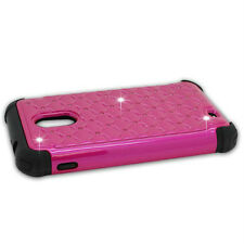SAMSUNG GALAXY S2 EPIC TOUCH D710 STUDDED DIAMOND HOT PINK PC+BLACK RUBBER
