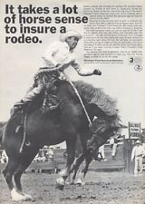 1965 Firemans Fund Insurance Rodeo Horse Bronc Rider  PRINT AD