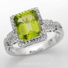 Solid 14K White Gold Genuine Natural Green Peridot Engagement Diamonds Ring