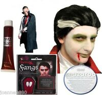 New Halloween Vampire Dracula Fancy Dress Costume Blood Fangs Cape Wig Paint Lot