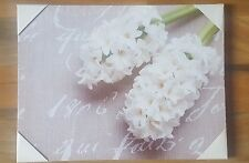 NEW CREAM WHITE LIME GREEN HYACINTH FLOWER FLORAL CANVAS WALL ART PICTURE 30x40
