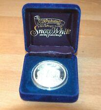 Disney Snow White Witch 50th Anniv. 1 Troy Oz Silver Coin with Box 1987 COA