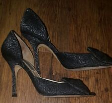 Jimmy Choo black pewter brocade d'orsay peep toe bow front shoes UK 5.