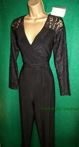 New MONSOON UK 8 Black DOUTZEN Lace Stretch Jersey JUMPSUIT Maxi All-in-One RARE