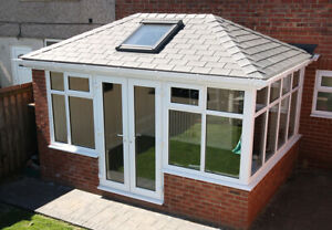 SUNROOM WITH SLATE EFFECT ECOTILE ROOF Incl Frames  4000mm x 3000mm DIY !