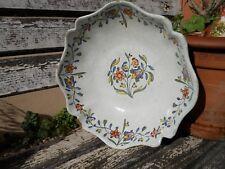 Ancien saladier XVIIIe en faïence de Rouen Sinceny décor fleurs polychrome