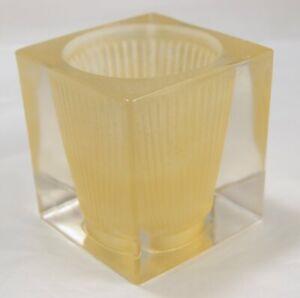 Glass Cube Block Bulb Holder / Shade Fluted Funnel Modern Minimal Design