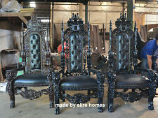180cm Gothic Black Lion King Throne Chair for prop movie showhouse club & hotels