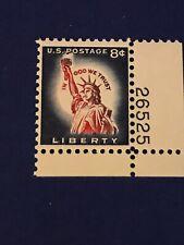 Scott #1042- MNH- 8c Statue of LIberty- Liberty Series, 1958-Plate # Single