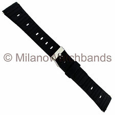 20mm Flex-On Black Rubber Sports Strap Water Proof Watch Band Regular 354