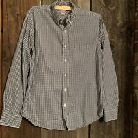 Men's J Crew M Woven Gingham Button Front Long Sleeve Shirt Blue White