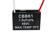 CBB61 450V 1.5UF Terminal Ceiling Fan Motor Running Rectangle Capacitor 2 wires