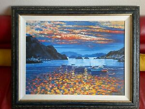 Howard Behrens  Amalfi Sunset BIG Giclee w Hand Done Oil Painting SIGNED & # ERD