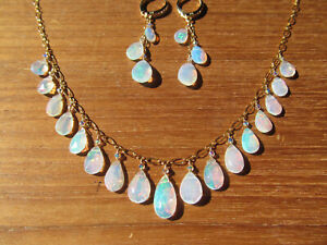 A+ NATURAL ETHIOPIAN WELO OPAL FACETED BRIOLETTES BEADS GOLD FILLED NECKLACE SET