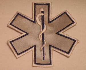 "EMS EMT 7"" Emergency Medical Star of Life Blue Reflective Patch"