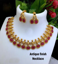 Indian Bollywood Style Gold Plated Bridal Red Choker Necklace Set Chain Jewelry