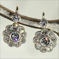 14 K White Gold FN 2.10 CT White Round Diamond Retro Bezel Set Earrings 925 SS