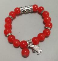 Tibet silver red round bead elastic female bead bracelet
