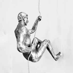 Haute Collage 1x Bronze Climber Left-handed Climbing Man with Wire Rope Wall