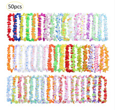 50 Hawaiian Flower Leis Necklace for Tropical Luau Party, Colorful Vibrant