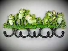 Kinder Garderobe Frosch Konzert Wand Haken Gusseisen antik Deko quack 32cm