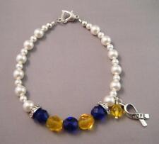 BLUE YELLOW RIBBON Awareness Czech Swarovski Pearl Bracelet w/ Silver Hope Charm