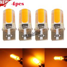 4x T10 194 168 W5W COB LED Car Canbus Silica Width Light Bulb Amber Yellow Top+