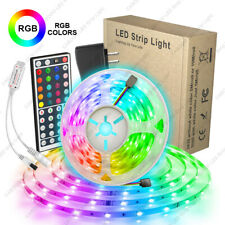16.4 Feet RGB Waterproof LED Strip Light SMD 44 Key Remote 12V DC Power Kit 5050