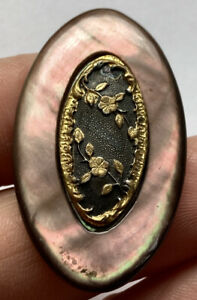 Antique Vintage Extra Large Carved Mop Shell Button Oval W/ Metal Floral Details