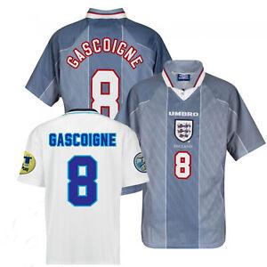 1996 England Away or Home Retro Shirt - Euro 96 Gascoigne with arm patches