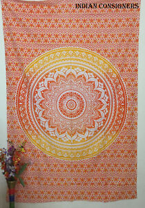 Bedspread Mandala Flower Design Cotton Fabric Tapestry Twin Size Wall Hanging