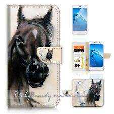 ( for Huawei Y7 ) Wallet Case Cover P21149 Black White Horse